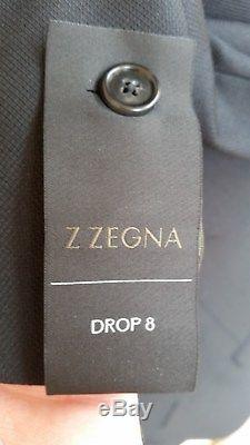 Z Zegna Drop 8 Suit Black Slim Fit 38R/48R New