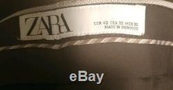 ZARA Beige Khaki Tan Slim Fit 2 Piece Suit Size Blazer 40 40R Pants 32 W x 32 L