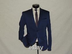 ZARA MAN 2 Button center vent flat front Men's Blue slim fit suit coat pant 38