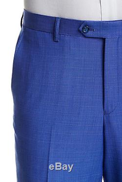 Zanetti Mens Slim Fit Blue Check Two Button Wool Suit